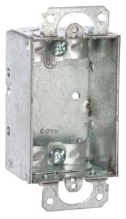 410 STEEL 1 GANG 1 1/2 DEEP OLD WORK ROMEX BOX 7.5 CUBIC INCHES WITH DRY WALL EARS SWB-25 (T&B) QTY 1/50