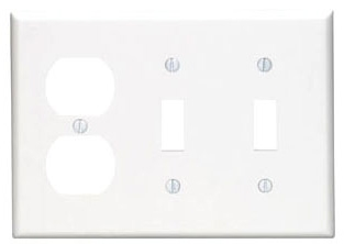 80721W 3 GANG 2 SWITCH 1 DUPLEX WALL PLATE WHITE QTY 1/10