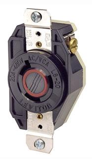 2340 20 AMP 480 VOLT 2 POLE 3 WIRE FLUSH MOUNT LOCKING RECEPTACLE BLACK NEMA L8-20R QTY 1 (LEVITON)