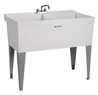 "Mustee Utilatwin 27W 40"" X 24"" 34"" White Thermoplastic 1-Piece Dual Bowl Laundry/Utility Tub"
