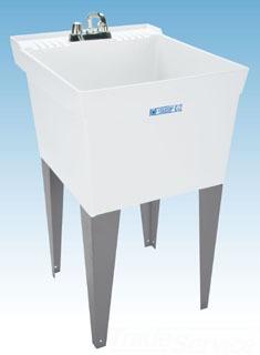 "Mustee Utilatub 19F 20"" X 24"" 34"" White Thermoplastic 1-Piece Single Bowl Laundry/Utility Tub"