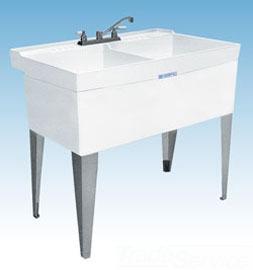 "Mustee Utilatwin 26F 40"" X 24"" 34"" Marbleized White Durastone 1-Piece Dual Bowl Laundry/Utility Tub"