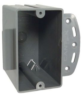 "7717RAC NEW WORK 1 GANG NON-METALLIC CABLE BOX WITH BRACKET 18.0 CUBIC INCHES 1/2"" SETBACK TABS KNOCKOUTS BREAKOUT QUICKLY AND CLEANLY PVC QTY 1/100"