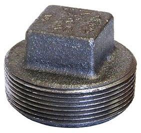 "Fig 318901808 1/2"" Mpt Black Cast Iron Square Head Solid Plug"