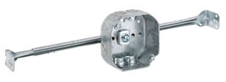 326 STEEL 4 OCTAGON WITH BAR HANGER ROMEX 1 1/2 DEEP 15.5 CUBIC INCHES 0 LBS FAN LIMIT 10 LB FIXTURE LIMIT FOR 16 AND 24 ON CENTER JOIST 54151NO (T&B) QTY 1/25
