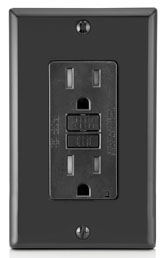 X7599T 15 AMP GFCI DUPLEX RECEPTACLE WITH 20 AMP FEED THRU CAPACITY SIDE AND BACK WIRED ALMOND TAMPER RESISTANCE LIGHT ALMOND QTY 1/10