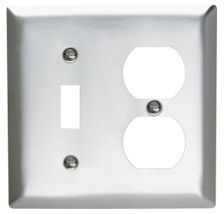 SS18 2 GANG SWITCH DUPLEX WALL PLATE STAINLESS STEEL (PASS) QTY 1/20