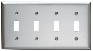 SS4 4 GANG SWITCH WALL PLATE STAINLESS STEEL (PASS) QTY 1/10