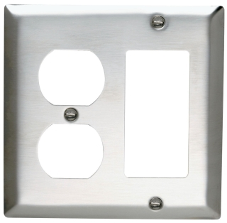 SS826 2 GANG DUPLEX DECORA WALL PLATE STAINLESS STEEL (PASS) QTY 1/20