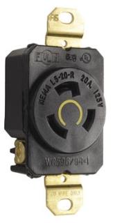 L520R 20 AMP 125 VOLT 2 POLE 3 WIRE TWIST LOCK RECEPTACLE NEMA L5-20R QTY 1/10 (PASS)