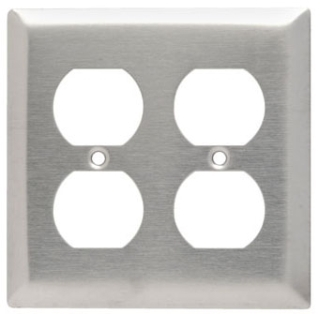 SS82 2 GANG DUPLEX WALL PLATE STAINLESS STEEL (PASS) QTY 1/20