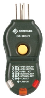 GT10GFI GFI TESTER CUBE FOR 120 VOLT AND GFI RECEPTACLES QTY 1