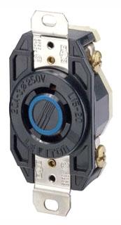 2420 20 AMP 3 PHASE 250 VOLT 3 POLE 4 WIRE TWIST LOCK RECEPTACLE NEMA L15-20R QTY 1 (LEVITON)