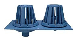 """Zurn RD2130-NH3-CI 3"""" No Hub Dura-Coated Cast Iron Bottom Outlet Combination Roof Drain And Overflow"""
