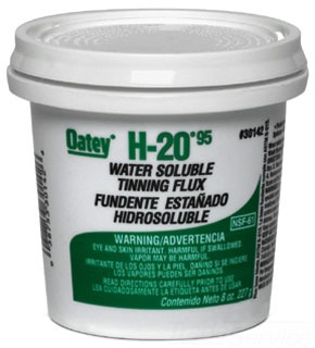 Oatey H-20 30142 8Oz Greenish Gray Water Soluble Paste Tinning Flux