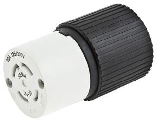 "L1420C CONNECTOR BODY 20 AMP 125/250 VOLT 3 POLE 4 WIRE GROUNDED NEMA L1420C TWIST LOCK INDUSTRIAL GRADE CORD DIAMETER 0.385"" - 1.150"" MATERAL NYLON (HUBSPEC) QTY 1/10"