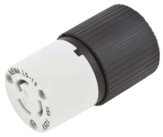 L515C CONNECTOR BODY 15 AMP 125 VOLT 2 POLE 3 WIRE GROUNDED NEMA L5-15C TWIST LOCK COMMERCIAL TO INDUSTRIAL GRADE MATERAL NYLON (HUBSPEC) QTY 1/10