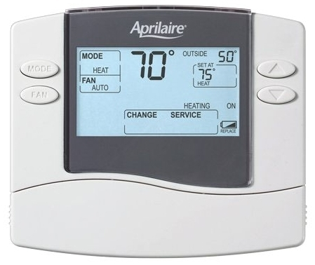 APRILAIRE 8448 UNIVERSAL HP OR MS NON-PROGRAMMABLE THERMOSTAT, 2H/2C, HP 4H/2C, DUAL POWERED