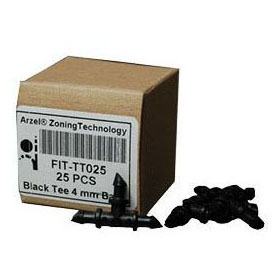 ARZEL FIT-TT025 BLACK BARB TEE 4MM (25 PER BOX) MC282321