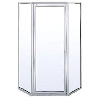 BASCO 160AK FRAMELESS PIVOT SHOWER DOOR FOR (KDNAS) OBSCURE GLASS, SILVER FRAME