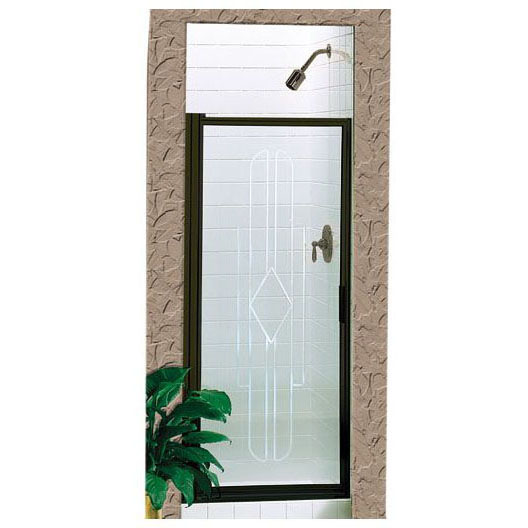 BASCO 100-32 DELUXE FRAMED CONTINUOUS HINGE SWING DOOR OBSCURE GLASS CHROME FINISH FITS 32-3/8