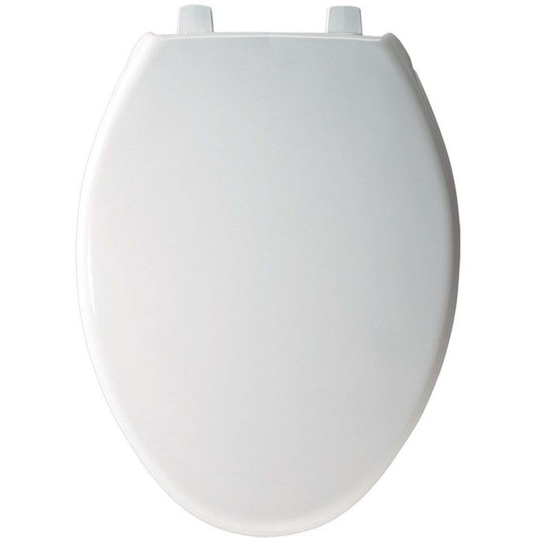 BEMIS 1900SS-000 EL *CFWC* WHITE COMMERCIAL PLASTIC SEAT W/ SELF-SUSTAINING STAINLESS STEEL HINGE