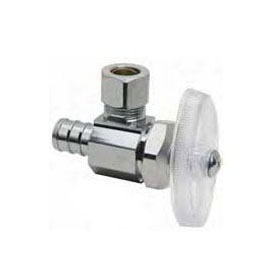 BRASSCRAFT (LFC) BRPX09X C ANGLE STOP 1/2 PEX X 1/4OD COMP, CHROME (FOR ICEMAKER) ** LEAD FREE COMPLIANT ** MC306405