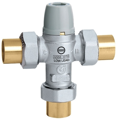CALEFFI 521359A 3/4 SWEAT MIXING VALVE W/ SCALD PROTECTION