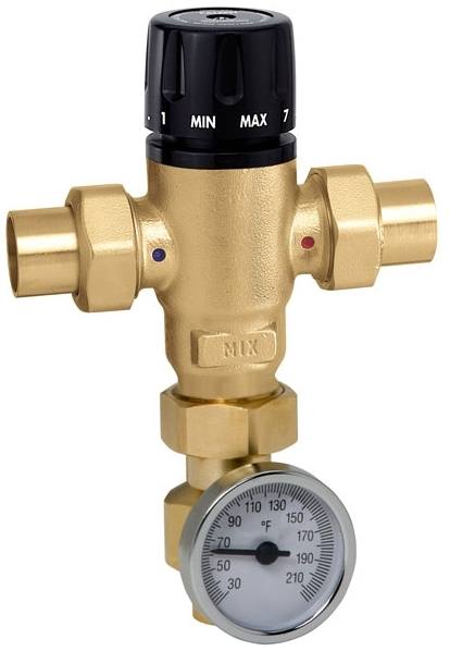 CALEFFI 521519A 3/4 SWEAT 3-WAY MIXING VALVE W/ TEMP GAUGE