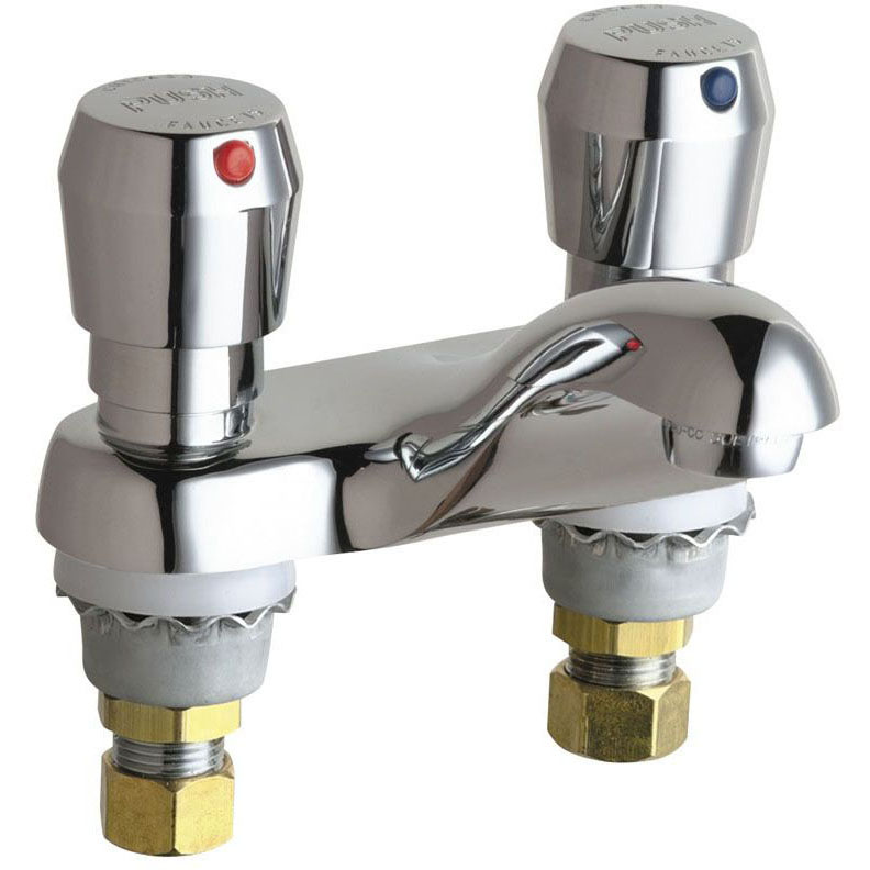 "CHICAGO FAUCET 802-665ABCP METERING LAV FAUCET 4"" CTRS CHROME (REPLACES 802-665CP)"