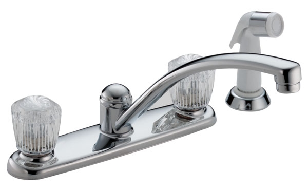 DELTA 2402LF CHROME, 2-HANDLE KITCHEN FAUCET W/ SPRAY (4H) (REPLACES 2402-LHP) *** LEAD FREE COMPLIANT ***