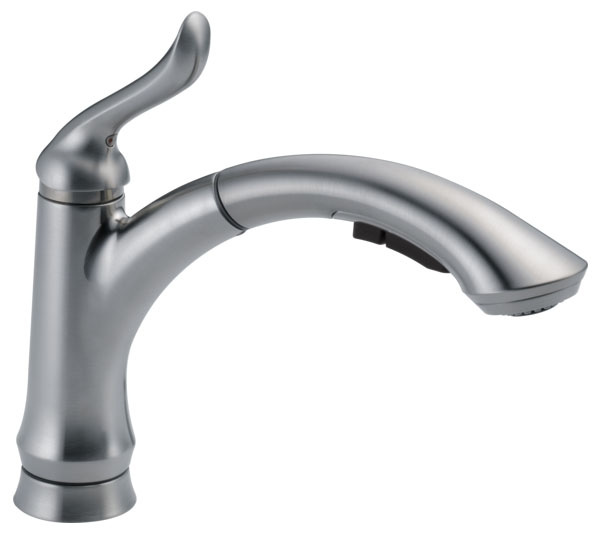 DELTA 4353-AR-DST LINDEN SINGLE HANDLE PULL-OUT KITCHEN FAUCET ARTIC STAINLESS (REPLACES 4353-SS-DST)