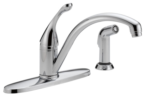 DELTA 440DST SIGNATURE SERIES KITCHEN FAUCET W/SPRAY, LEVER HANDLE, 8