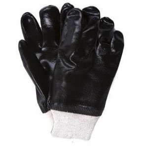 BLACK PVC COATED GLOVES (PR) 33 TT #1007 #D154