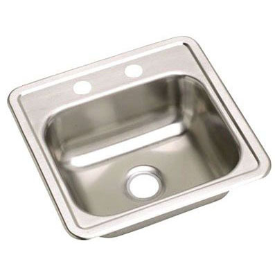 "DAYTON D117192 CLASSIC 22 GAUGE STAINLESS STEEL 17"" x 19"" x 6-1/8"" SINGLE BOWL TOP MOUNT BAR/PREP SINK (2-HOLE)"