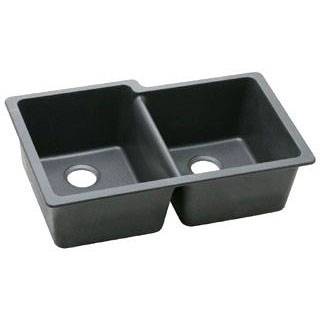 ELKAY ELGU250RBK0 HARMONY E-GRANITE UNDERMOUNT DOUBLE BOWL SINK, BLACK (SMALL BOWL ON RIGHT)