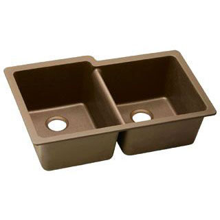 ELKAY ELGU250RMC0 HARMONY E-GRANITE UNDERMOUNT DOUBLE BOWL SINK, MOCHA (SMALL BOWL ON RIGHT)