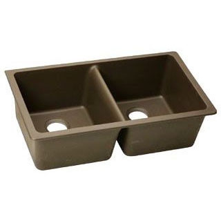 ELKAY ELGU3322MC0 MOCHA E-GRANITE DOUBLE EQUAL BOWLS UNDERMOUNT SINK