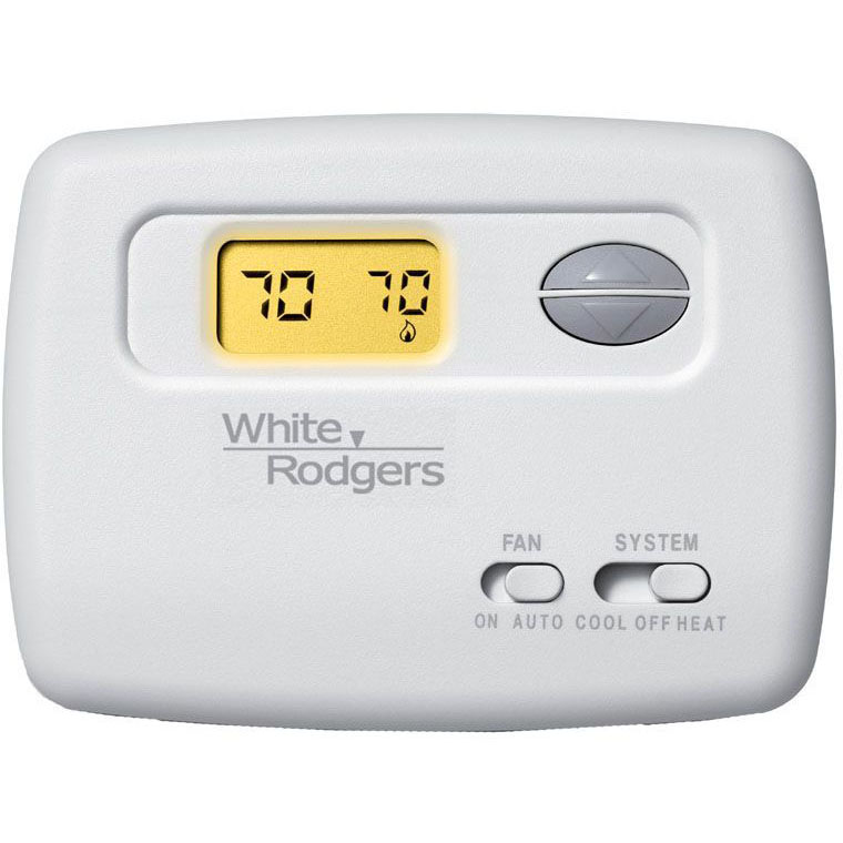 WHITE RODGERS 1F78-144 T-STAT, NON-PROGRAMMABLE 1H/1C, BATTERY WILL WORK WITH HEAT PUMP