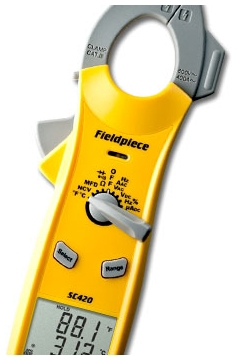 FIELDPIECE SC420 DUAL DISPLAY MINI CLAMP METER, AUTO RANGING W/ TEMP AND DUTY CYCLE & uF MODE