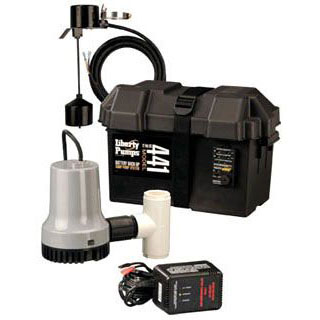 LIBERTY 441 EMERGENCY SUMP PUMP SYSTEM W/BATTERY BACK UP 12V PUMP AND CONTROLLER ** MUST ADD BATTERY ** 38GPM @ 5' (REQUIRES BATTERY NOT INCLUDED)