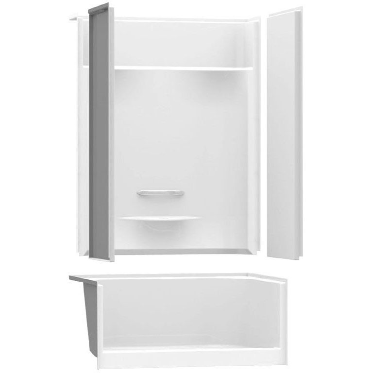 AKER KDS-3448 WHITE 4-PC SHOWER NO SEAT (142030-000-002-193) ***ASSM***