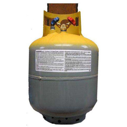 WORTHINGTON EMPTY FREON RECOVERY TANK 50# ** RATED FOR 400# ** R22 OR R410A (GREY & YELLOW TANK) (MONTI MA-400RC50)