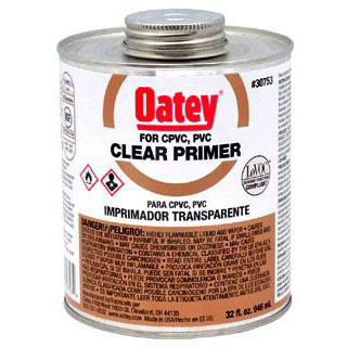 OATEY 30753 CLEAR PRIMER 32 OZ. (FOR USE ON PVC AND CPVC) MC45054