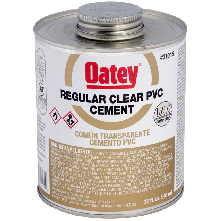 OATEY 31015 32oz PVC CEMENT REGULAR CLEAR MC2095