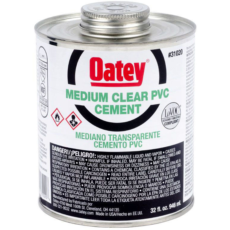 OATEY 31020 32OZ PVC CEMENT MEDIUM CLEAR MC248583