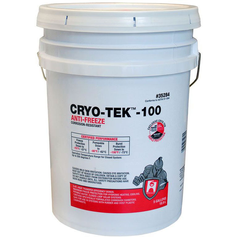 HERCULES 35-284 CRYO-TEK -100 ANTI-FREEZE 5 GAL (Contains virgin 55% (not recycled) propylene glycol with triple protection corrosion inhibitor.) MC92966