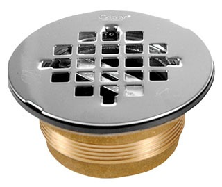 OATEY 42150 140NC BRASS NO-CAULK SHOWER DRAIN W/STAINLESS STEEL STRAINER