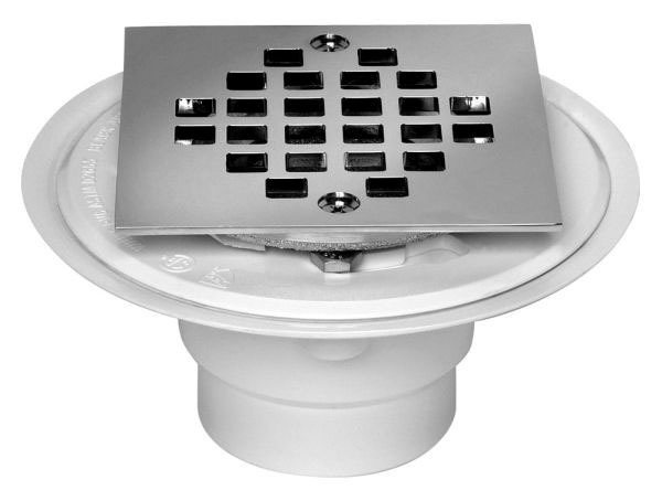 OATEY 42237 PVC DRAIN W/ SQUARE CHROME STRAINER FOR TILE SHOWER BASES