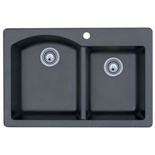 SWAN QZDB-3322-NERO QUARTZ KITCHEN SINK DROP IN OR UNDERMOUNT BLACK